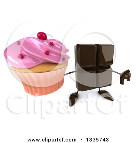 Clipart of a 3d Chocolate Candy Bar Character Holding up a Thumb down and a Pink Frosted Cupcake - Royalty Free Illustration by Julos