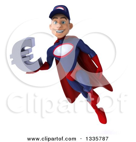 Clipart of a 3d Young White Male Super Hero Mechanic in Red and Dark Blue, Flying with a Euro Symbol - Royalty Free Illustration by Julos
