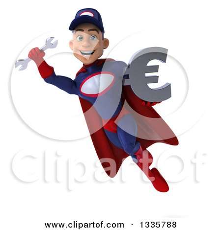 Clipart of a 3d Young White Male Super Hero Mechanic in Red and Dark Blue, Flying with a Wrench and Euro Symbol - Royalty Free Illustration by Julos