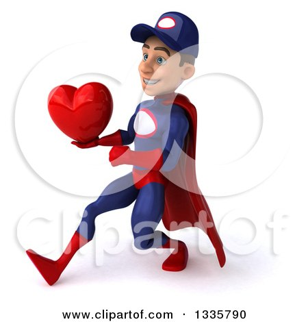 Clipart of a 3d Young White Male Super Hero Mechanic in Red and Dark Blue, Holding a Red Love Heart and Speed Walking to the Left - Royalty Free Illustration by Julos