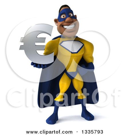 Clipart of a 3d Muscular Black Male Super Hero in a Yellow and Blue Suit, Holding a Euro Currency Symbol - Royalty Free Illustration by Julos