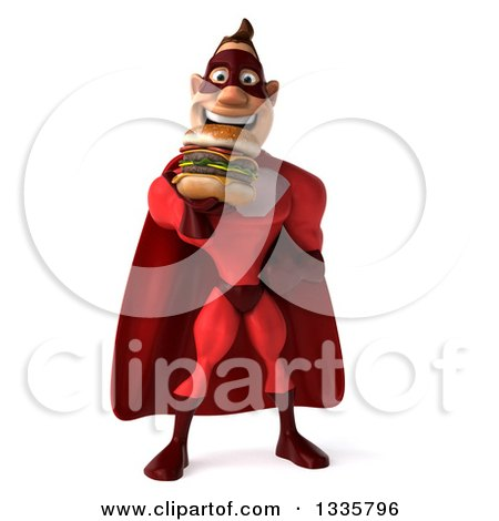 Clipart of a 3d Buff White Red Super Hero Man Eating a Double Cheeseburger - Royalty Free Illustration by Julos