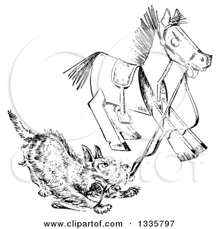 Clipart of a Retro Black and White Terrier Dog Playing with a Wooden Toy Horse - Royalty Free Vector Illustration by Picsburg