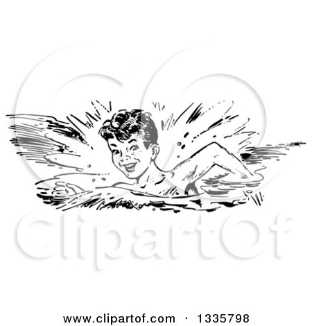 Clipart of a Retro Black and White Happy Boy Swimming in a Stroke Style - Royalty Free Vector Illustration by Picsburg