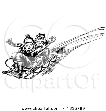 Clipart of a Retro Black and White Boy and Girl Playing on a Winter Sled - Royalty Free Vector Illustration by Picsburg
