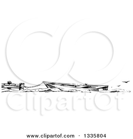 Clipart of a Retro Black and White Boat Tied to a Dock, with Seagulls and Text Space - Royalty Free Vector Illustration by Picsburg
