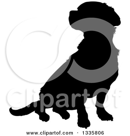 Clipart of a Black Silhouetted Mixed Breed Puppy Dog Sitting - Royalty Free Vector Illustration by Maria Bell