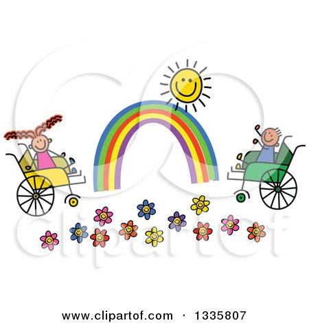 Clipart of a Doodled Disabled Boy and Girl Playing by Flowers, a Rainbow and Sun in Wheelchairs - Royalty Free Vector Illustration by Prawny