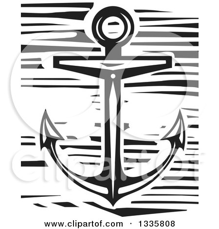 Clipart of a Black and White Woodcut Nautical Anchor - Royalty Free Vector Illustration by xunantunich