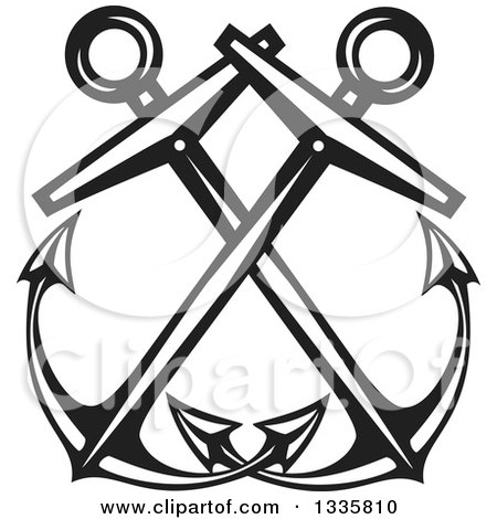 Clipart of Black and White Crossed Nautical Anchors - Royalty Free Vector Illustration by xunantunich