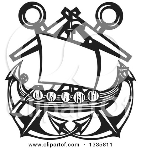 Clipart of a Black and White Woodcut Viking Ship over Crossed Nautical Anchors - Royalty Free Vector Illustration by xunantunich