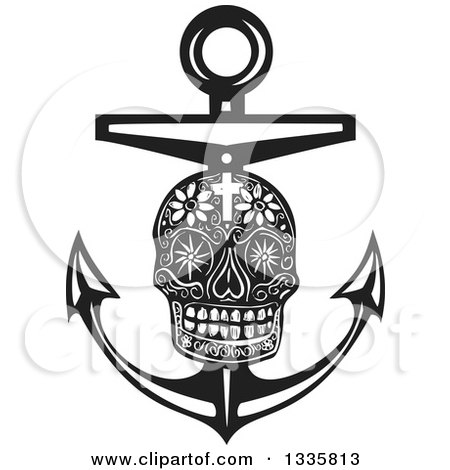 Clipart of a Black and White Woodcut Day of the Dead Skull and Nautical Anchor - Royalty Free Vector Illustration by xunantunich