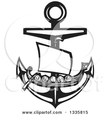 Clipart of a Black and White Woodcut Viking Ship over a Nautical Anchor - Royalty Free Vector Illustration by xunantunich