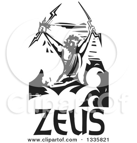 Clipart of a Black and White Woodcut Greek God, Zeus Holding Lightning Bolts over Text and Clouds - Royalty Free Vector Illustration by xunantunich