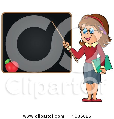 Clipart of a Cartoon Brunette White Female Teacher Holding a Pointer Stick to a Black Board - Royalty Free Vector Illustration by visekart