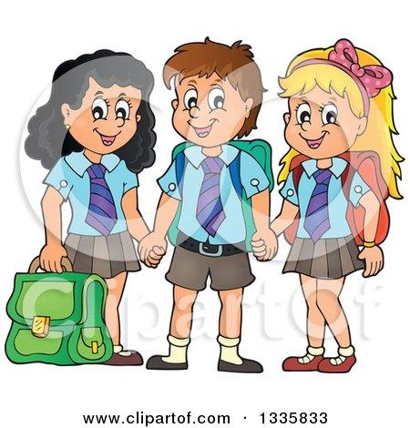 Cartoon Happy School Children Wearing Uniforms and Holding Hands Posters, Art Prints