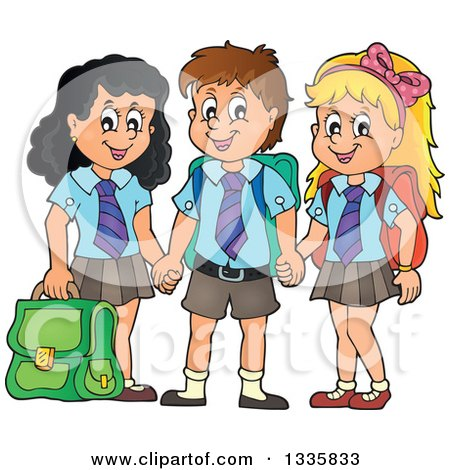 Clipart of Cartoon Happy School Children Wearing Uniforms and Holding Hands - Royalty Free Vector Illustration by visekart
