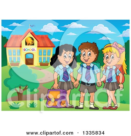 Clipart of Cartoon Happy School Children Wearing Uniforms and Holding Hands in Front of a Building - Royalty Free Vector Illustration by visekart
