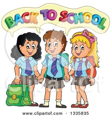 Clipart of Cartoon Happy Children Wearing Student Uniforms and Holding Hands, Saying Back to School - Royalty Free Vector Illustration by visekart