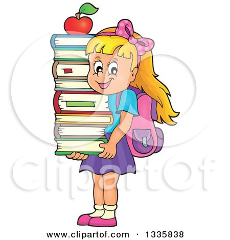 Clipart of a Cartoon Happy Blond Caucasian School Girl Carrying an Apple and a Stack of Books - Royalty Free Vector Illustration by visekart