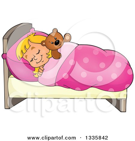 Clipart of a Cartoon Happy Blond Caucasian Girl Sleeping and Dreaming in Bed with a Teddy Bear - Royalty Free Vector Illustration by visekart