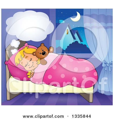 Clipart of a Cartoon Happy Blond Caucasian Girl Sleeping and Dreaming in Bed with a Teddy Bear, with a Cloud - Royalty Free Vector Illustration by visekart