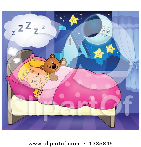 Clipart of a Cartoon Happy Blond Caucasian Girl Sleeping and Dreaming in Bed with a Teddy Bear, with a Crescent Moon and Stars - Royalty Free Vector Illustration by visekart