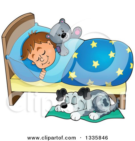 Clipart of a Cartoon Dog Sleeping by a Brunette Caucasian Boy in Bed with a Teddy Bear - Royalty Free Vector Illustration by visekart