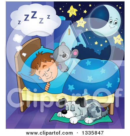 Clipart of a Cartoon Dog Sleeping by a Brunette Caucasian Boy in Bed with a Teddy Bear, with a Crescent Moon and Stars - Royalty Free Vector Illustration by visekart