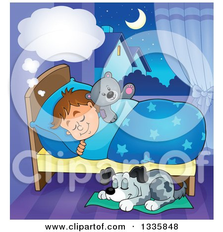 Clipart of a Cartoon Dog Sleeping by a Dreaming Brunette Caucasian Boy in Bed with a Teddy Bear - Royalty Free Vector Illustration by visekart
