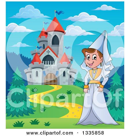 Clipart of a Cartoon Happy Medieval Princess Strolling by a Castle During the Day - Royalty Free Vector Illustration by visekart