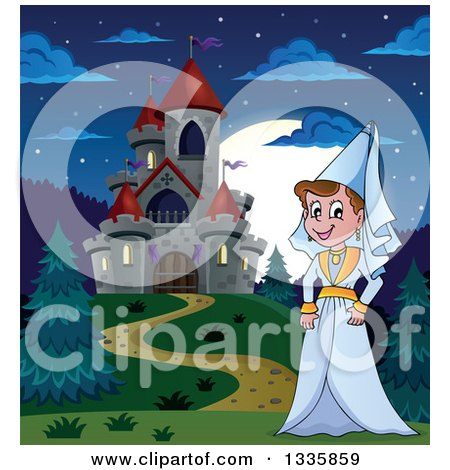 Clipart of a Cartoon Happy Medieval Princess Strolling by a Castle at Night - Royalty Free Vector Illustration by visekart