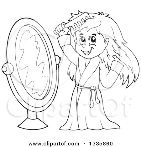 clipart of a cartoon black and white happy girl in a robe