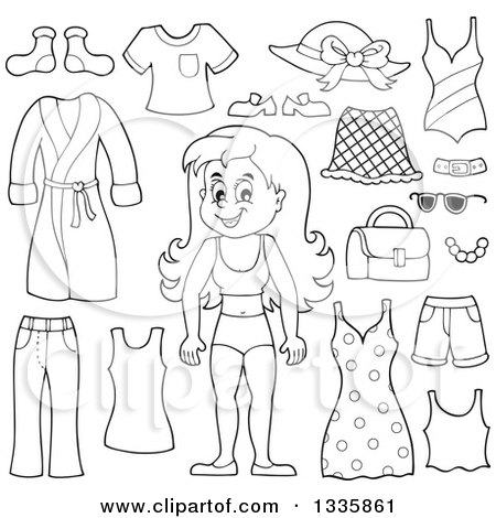 Clipart of a Cartoon Black and White Happy Girl in Her Underwear, Surrounded by Summer Clothing Items - Royalty Free Vector Illustration by visekart