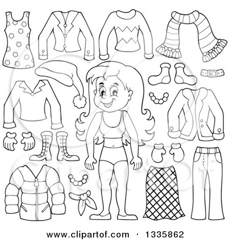Clipart of a Cartoon Black and White Happy Girl in Her Underwear, Surrounded by Winter Clothing Items - Royalty Free Vector Illustration by visekart