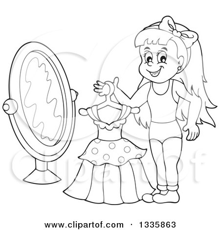 mirror clipart black and white. clipart of a cartoon black and white happy girl holding dress on hanger in front mirror - royalty free vector illustration by visekart