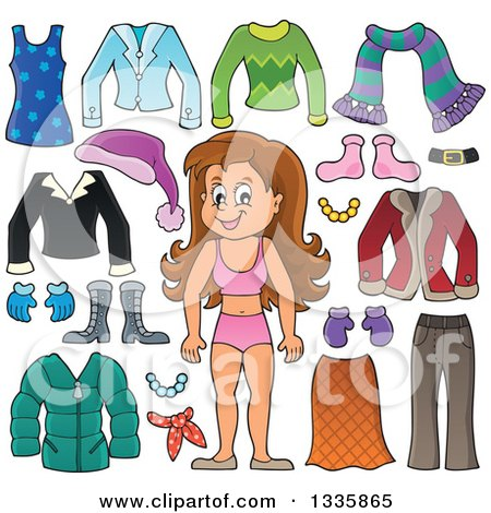 Clipart of a Cartoon Happy Brunette White Girl in Her Underwear, Surrounded by Winter Clothing Items - Royalty Free Vector Illustration by visekart