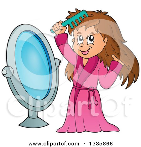 Clipart of a Cartoon Happy Brunette White Girl in a Robe, Combing Her Hair in Front of a Mirror - Royalty Free Vector Illustration by visekart