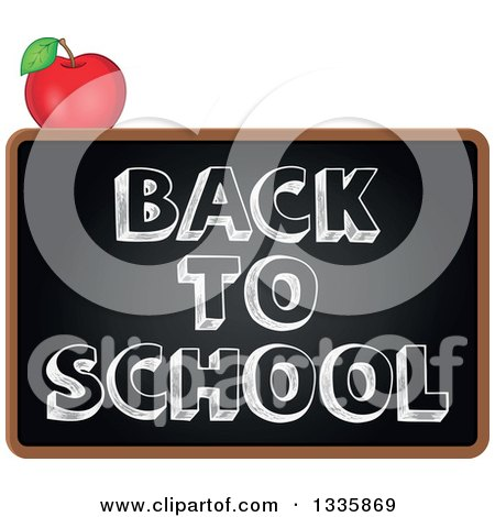 Clipart of a Cartoon Blackboard with Back to School Text and an Apple - Royalty Free Vector Illustration by visekart