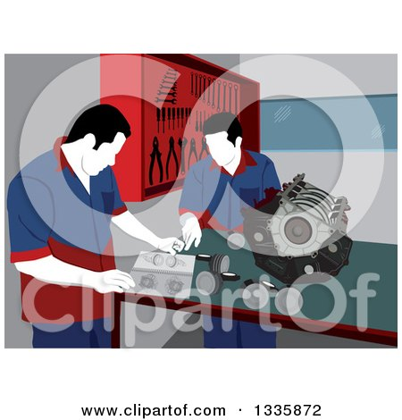 Clipart of Male Mechanics Going over Car Engine Parts for Repair in a Garage - Royalty Free Vector Illustration by David Rey