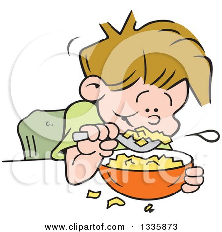 Clipart of a Cartoon Dirty Blond Caucasian Boy Eating Breakfast Cereal - Royalty Free Vector Illustration by Johnny Sajem