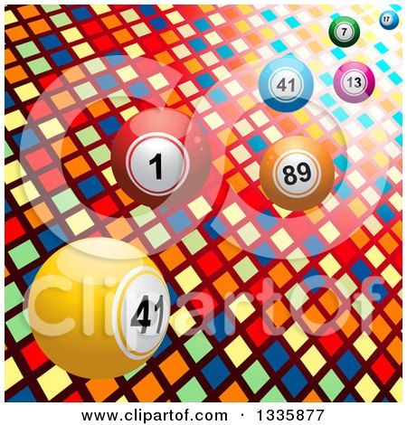 Clipart of 3d Bingo or Lottery Balls over Lights and Colorful Tiles - Royalty Free Vector Illustration by elaineitalia
