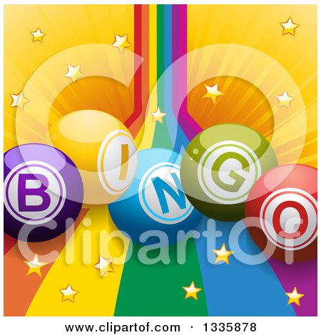 Clipart of 3d Bingo Balls over a Rainbow and Star Burst - Royalty Free Vector Illustration by elaineitalia