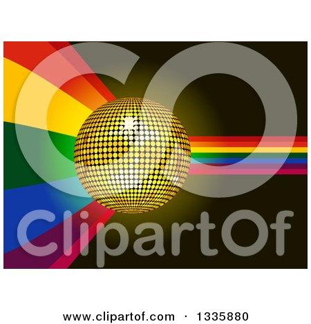 Clipart of a 3d Gold Disco Ball over a Rainbow Cuve on Black - Royalty Free Vector Illustration by elaineitalia
