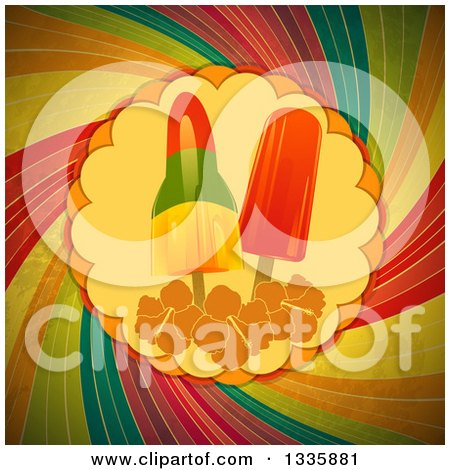 Clipart of Popsicles and Hibiscus Flowers in the Center of a Grungy Rainbow Swirl - Royalty Free Vector Illustration by elaineitalia