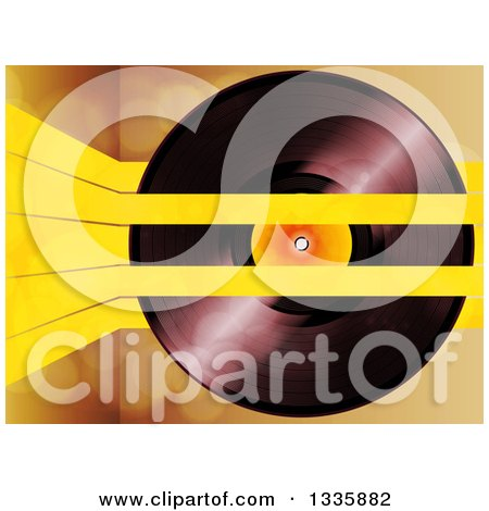 Clipart of a 3d Music Vinyl Record with Yellow Lines over Flares - Royalty Free Vector Illustration by elaineitalia