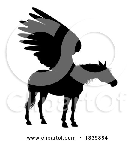 Clipart of a Black Silhouetted Winged Pegasus Horse - Royalty Free Vector Illustration by AtStockIllustration