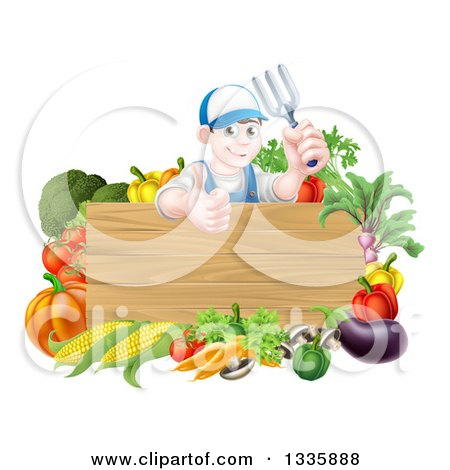 Clipart of a Young Brunette White Male Gardener in Blue, Holding up a Garden Fork and Giving a Thumb up over a Blank Wood Sign with Produce - Royalty Free Vector Illustration by AtStockIllustration