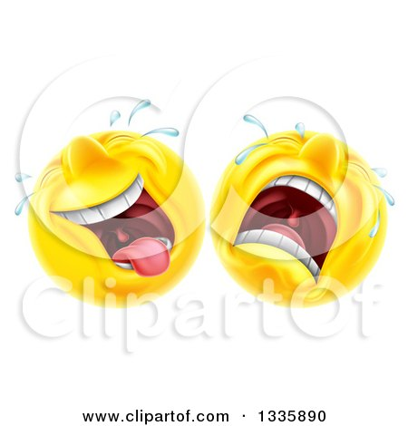 Clipart of Cartoon Yellow Trajedy and Comedy Theater Emoji Emoticons - Royalty Free Vector Illustration by AtStockIllustration