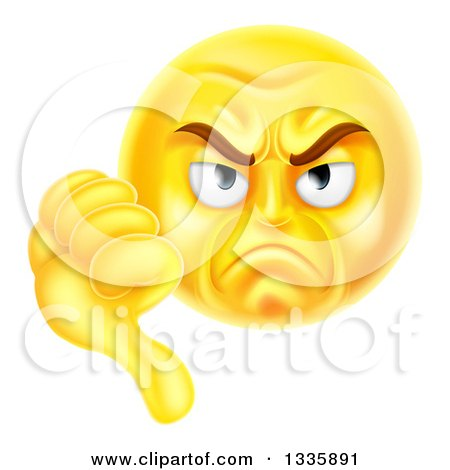 Clipart Yellow Emoticon Holding A Dislike Thumb Down